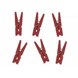 Дървени мини щипчици 4х30мм - червени - 10 бр.