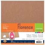 Комплект от 20бр. крафт картони - Florence - Cardstock Kraft 30,5x30,5cm 20pcs - 300гр.