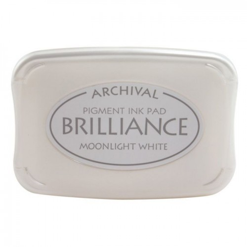 Висококачествено бляскаво бяло тампонно мастило - Tsukineko - Brilliance ink pad Moonlight white