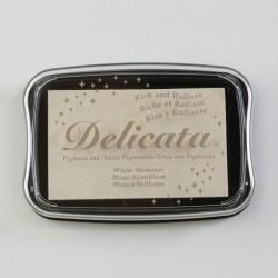 Пигментно бяло тампонно мастило с блясък   - Tsukineko • Delicata pigment ink 9x6cm White shimmer