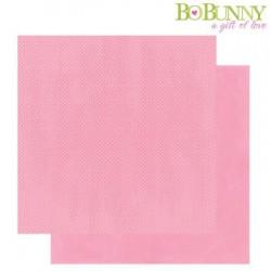 Дизайнерски картон розов с точки - Bo Bunny - double dots designs 30,5x30,5cm passion fruit dot
