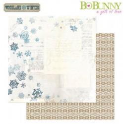 Двустранна дизайнерска хартия - Bo Bunny - woodland winter 30,5x30,5cm paper