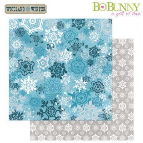 Двустранна дизайнерска хартия - Bo Bunny - woodland winter 30,5x30,5cm blizzard paper
