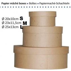 Кръгла кутия от папие маше за декориране - L - Papier maché' box round - d - 25см