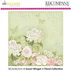 """Дизайнерски лист 12"""" х 12"""" с хортензия и рози- K&Company - Susan Winget 30,5x30,5cm-12x12"""" roses hydrangea"""