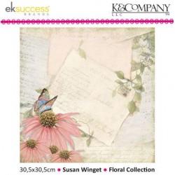 "Дизайнерски лист 12"" х 12"" с цвете и пеперуда - K&Company - Susan Winget 30,5x30,5cm-12x12"" floral music"