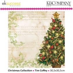 """Дизайнерски лист 12"""" х 12""""с Коледно дърво - K&Company -  Tim Coffey 30,5x30,5cm-12x12"""" tree flat"""