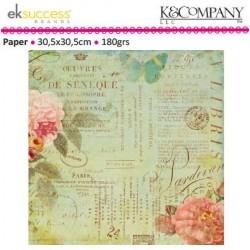 """Дизайнерски лист хартия с бляскав текст 12"""" х 12""""- K&Company scribe text shimmer paper"""