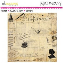 """Дизайнерски лист 12"""" х 12"""" с мастилница и писалка - K&Company scribe 30,5x30,5cm-12x12"""" notes flat paper"""