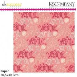 """Дизайнерски лист 12"""" х 12""""  - K&Company cupid 30,5x30,5cm-12x12"""" words flat paper"""