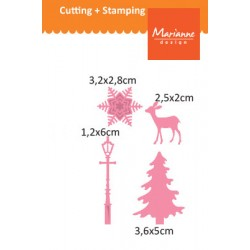 Комплект от щанци - сърне, елха, снежинка и улична лампа - Marianne Design Collectables christmas village decoration