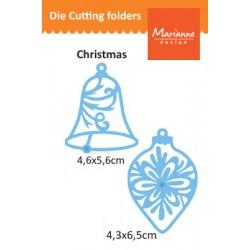 Шаблон за изрязване и релеф камбанка и коледно украшение - Marianne Design - Creatables bell & baulb