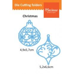 Шаблон за изрязване и релеф коледни украшения - Marianne Design - Creatables christmas ornaments