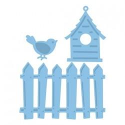 Комплект щанци за изрязване от оградка, птиче и къщичка за птици - Marianne Design Creatables fence