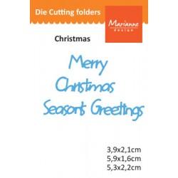 "Щанца надпис ""Честита Нова година"" - Marianne Design Creatables merry christmas seasons greeting"