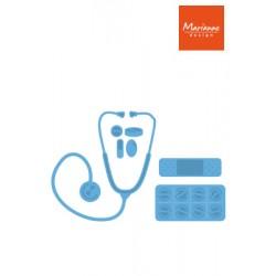 Универсален шаблон за изрязване и релеф блистер, лекарски слушалки - Marianne Design -  Creatables hospital