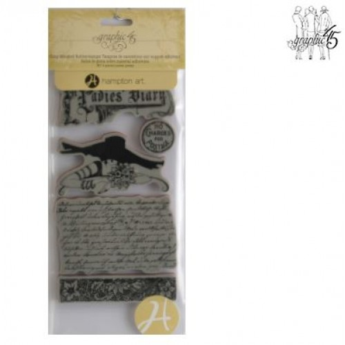 """Клинг печат """"Дневник"""" - Graphic45 - cling mounted rubberstamps ladies diary 1"""