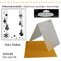 Ембосинг папка елхови играчки и снежинки - Darice - Embossing template 10,8x14,6cm orn star flk