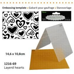 Ембосинг папка със сърца - Darice - Embossing template 10,8x14,6cm layerd hearts