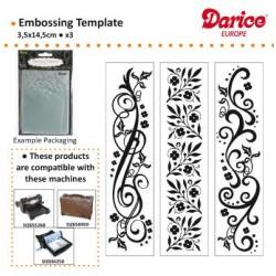 Бордюрни папки за релеф - к-т от 3бр. - Darice - Embossing template 3,5x14,5cm x3 borders flourishes