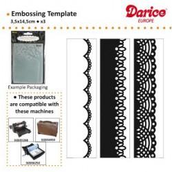 Бордюрни папки за релеф - к-т от 3 бр. дентела - Darice - Embossing template 3,5x14,5cm x3 borders laces