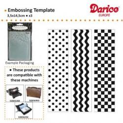 Бордюрни папки за релеф - к-т от 3 бр. - Darice - Embossing template 3,5x14,5cm x3 borders simple