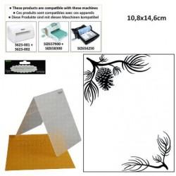 Ембосинг папка елхово клонче със шишарка - Darice - Embossing template 10,8x14,6cm pine branches