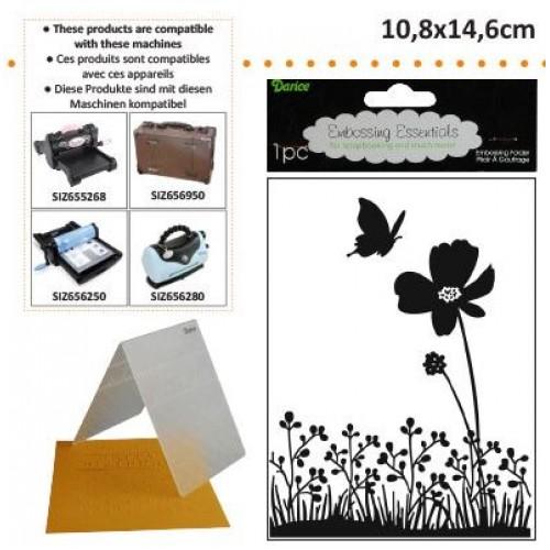 Ембосинг папка пеперуда на цвете - Darice - Embossing template 10,8x14,6cm butterfly on flower