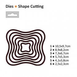 Щанца за изрязване и релеф рамка / таг / етикет - Darice - Die cut stencil wavy square 105x97mm