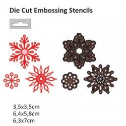 Щанца за изрязване и релеф снежинки - Darice - Die cut stencil  63x70mm + 64x58mm + 35x35mm