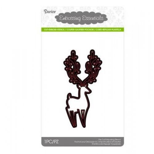Шаблон за рязане и релеф елен - Darice - Die cut stencil reindeer 57x115mm