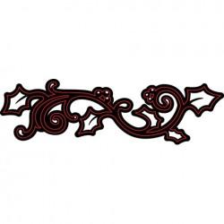 Шаблон за рязане и релеф бордюр от коледно цвете - Darice - Die cut stencil holly border