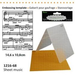 Ембосинг папка - ноти / петолиние - Darice - Embossing template 10,8x14,6cm sheet music