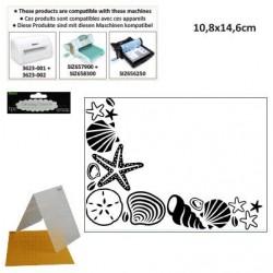 Ембосинг папка - мидички - Darice - Embossing template 10,8x14,6cm shell corner