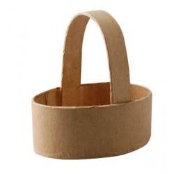 Кошничка за декориране от папие маше 6.5 х 9см - Papier mache basket oval 6.5x9cm