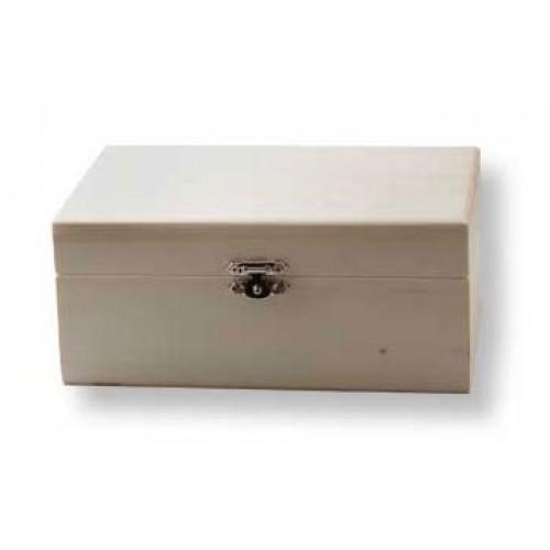 Дървена правоъгълна кутия за декориране със закопчаване -15 х 9 х 6.3см - Wooden box 15x9x6,3cm