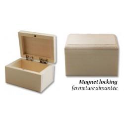 Дървена правоъгълна кутийка за декориране - 8 х 6 х 5см, закопчаване с магнит - Wood poplar box magnet 8x6x5cm
