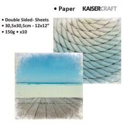 "Двустранен дизайнерски картон 12"" х 12"" океан / въже - Kaiser craft sandy toes double-sided 12x12"" ocean"