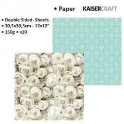 """Двустранен дизайнерски картон 12"""" х 12"""" винтидж бели рози - Kaiser craft blue bay double-sided 12x12"""" turquoise"""