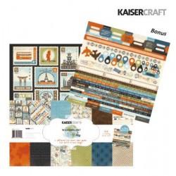 """Дизайнерски листи 12""""х 12"""" и стикери - Kaiser craft wanderlust paper pack 12x12"""""""
