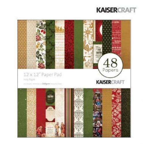 "Дизайнерско блокче - Коледа / Нова година - 48 листа - 12"" х 12"" - Kaiser craft Holy night paper pad 12x12"""