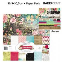 "Комплект от дизайнерски листи 12"" х 12"" и стикери - Kaiser craft kaleidoscope paper pack 12x12"""