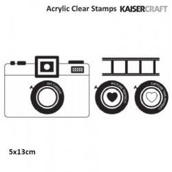 Прозрачен силиконов печат - камера - Kaiser craft happy snaps clear stamp camera texture