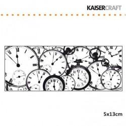 Прозрачен печат с часовници - Kaiser craft clear stamp 5x13cm tic toc