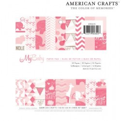 Дизайнерско блокче за момиче - American crafts - Paper pads imaginisce my baby girl x36