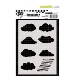 Шаблон за микс медиа и декупаж - облаци и дъжд - Carabelle template 10x14cm nuages
