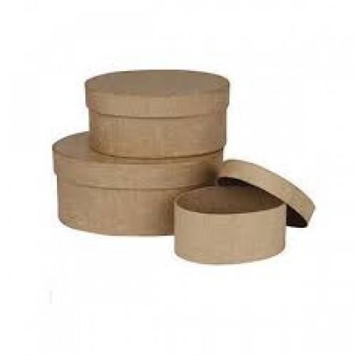 3бр. крафт кутии от папие маше - овални - Creativ 263710 Papier Mache Oval Boxes - Pack of 3