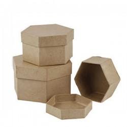 3бр. крафт кутии от папие маше - шестоъгълни - Creativ 263770 Papier Mache Hexagonal Boxes - Pack of 3