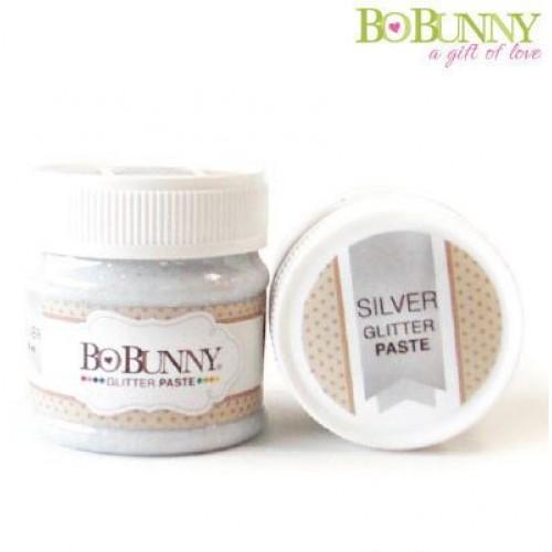 Блестяща сребриста паста - Bo Bunny glitter paste silver