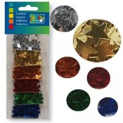 Конфети / пайети асорти звезди за шейкър картички - Confetti 6x2g ass. star 11mm
